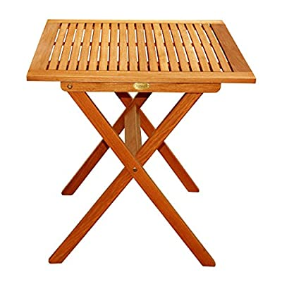 LuuNguyen Outdoor Hardwood Folding Table(Natural Wood Finish) - Made from FSC eucalyptus solid hardwood, treated with oil, natural color stained Some assembly required Assembled size - 28 inches (L) x 28 inches (W) x 30 inches (H) - patio-tables, patio-furniture, patio - 518Ks3eKm0L. SS400  -