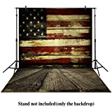 Allenjoy 6ftx8ft vinyl photography backdrops retro Blue wooden floor wall Patriotic American Flag 4th of July independence Day banner photo studio booth newborn baby shower background photocall