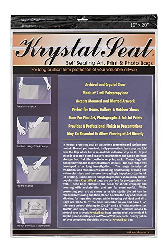 Creative Mark Krystal Seal Art and Photo Bags - Resealable Archival Storage Bags Art Sleeves Plastic Bag Used For Protecting Artwork Resealable With Adhesive Strip - [25 Pack - 16 x 20