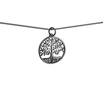 b462eb42ce9 9ct White Gold 20mm round 1.5mm thick Tree of Life Pendant with a 1mm wide  curb Chain 16 inches Only Suitable for Children: Amazon.co.uk: Jewellery