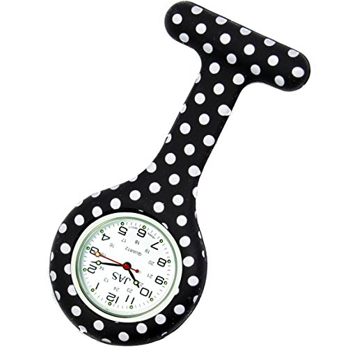 JAS Unisex Nurses Lapel Watch Silicone (Infection Control) Polka Dot - Black from JAS