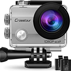 "Crosstour Action Camera Underwater Cam WiFi 1080P Full HD 12MP Waterproof 30m 2"" LCD 170 Degree Wide-Angle Sports Camera with 2 Rechargeable 1050mAh Batteries and Mounting Accessory Kits (Silver)"