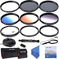 K&F Concept 67mm Lens Filter Kit Slim UV Slim CPL Circular Polarizing Macro Close up +4 +10 Slim Graduated Color Orange Blue Grey Point Star 6 Filters For Nikon DSLR Camera with 18-105mm Lens