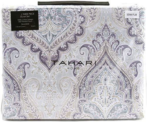 Tahari Home Luxury Bohemian Duvet Cover Luxury Boho Style Medallion Print in Blue Grey 3 Piece Bedding Set (Queen, Plum)