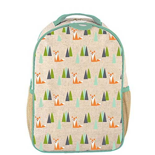 SoYoung Toddler Backpack - Raw Linen, Eco-Friendly, Non-Toxic, Retro-Inspired Design - Olive Fox ()