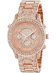 Akribos XXIV Womens AK776RG Crystal Encrusted Swiss Quartz Movement Watch with Rose Gold Dial and Bracelet