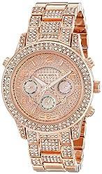 Akribos XXIV Women's AK776RG Crystal Encrusted Swiss Quartz Movement Watch with Rose Gold Dial and Bracelet