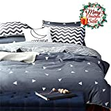 Triangle Duvet Cover Set King.Reversible Grey Duvet Cover with 2 Pillow Shams - Hotel Quality 100% Cotton - Luxurious, Comfortable, Breathable, Soft and Extremely Durable (King, Style 1)