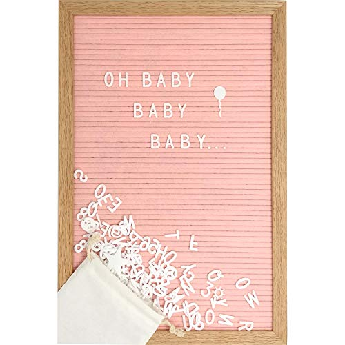 (Pink Felt Letter Board Set with 12 x 17 inch Oak Frame, 374 Precut Letters and Emojis, Script Words, Wall Hook and Stand - Perfect Baby Shower Decoration for Girl or Mom)