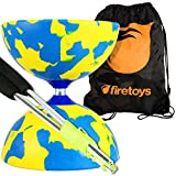 Juggle Dream Jester Medium Diabolo (Y/Blu) with Aluminium Diablo Sticks (incl string) & Firetoys Bag