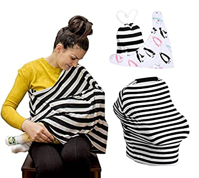 Cotton Nursing Cover - Stretchy Car Seat Covers, Canopy for Babies and Breastfeeding Cover Ups, Baby Bib Gift Set, Stylish Infinity Scarf and Shawl, Shopping Cart and Stroller Multi-Use