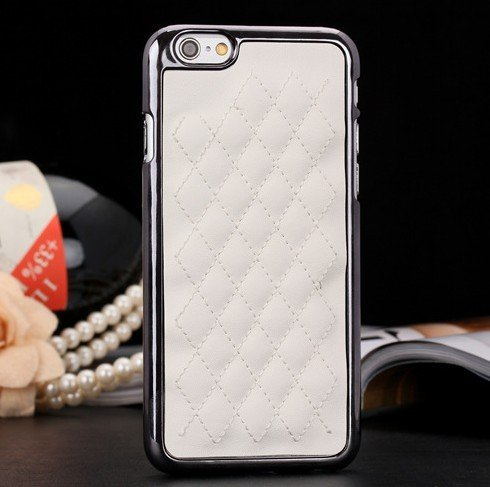 iPhone 6 Plus Case, Luxurious Quilted Pattern Lamb Skin Leather Chrome Case for Apple iPhone 6 Plus 5.5 inch (White)
