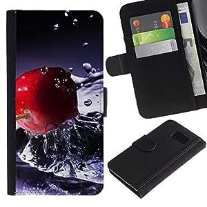 KLONGSHOP / Tirón de la caja Cartera de cuero con ranuras para tarjetas - Fruit Macro Water Cherry;; - Samsung Galaxy S6 SM-G920