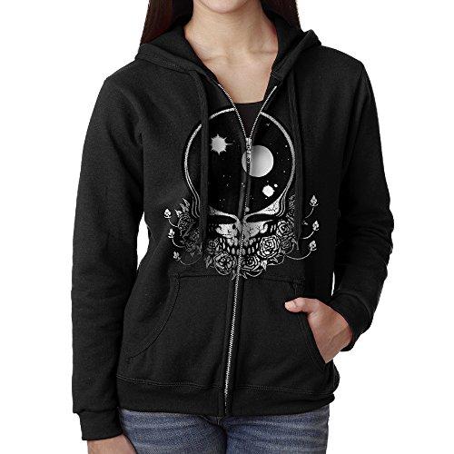(KOBT Women's Grateful Space Dead Full Zip Sweatshirt Jackets Black Size)