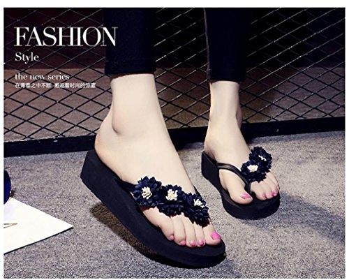 Flops Flip Thongs Femme Sandales Pantoufles Été Wedge Talon Noir Plate Fleurs de Forme ArXqgwYX