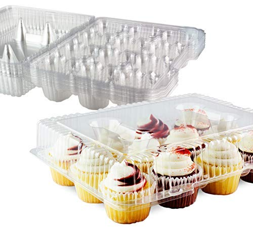 12 Cupcake Plastic Disposable Container Box By Chefible -Ergonomic & Practical Takeout Cupcake Carrier, Stackable & Space-saving Cupcake Holder, Food-Grade & BPA-Free Plastic Material -10-Pack (Space Saving Cup Holder)