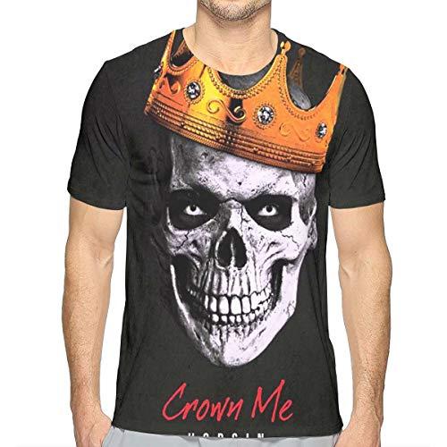 JosephG Men's Hopsin Crown Me Skull Design 3D Printed Short Sleeve T Shirt White XL