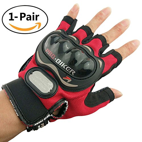 Advanced Fabric Hard Knuckle Gloves Tactical Fingerless Gloves Indoor Cycling Gloves Combat Gloves Paintball Gloves Shooting Gloves Men Womens Motorcycle gloves,1 Pair(Redshort)
