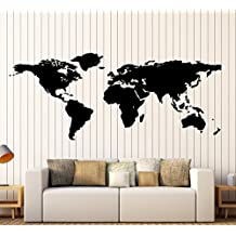 World Map Outline Continents Country Nations Europe Asian Africa Mural Wall Art Decor Vinyl Sticker P017 (S 11 in X 22.5 in)