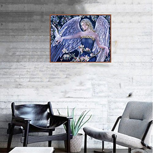 Cyhulu 5D Full Diamond Painting, Fancy Beautiful 5D Embroidery Paintings Rhinestone Pasted DIY Canvas Painting Cross Stitch, Angel by Cyhulu (Image #2)