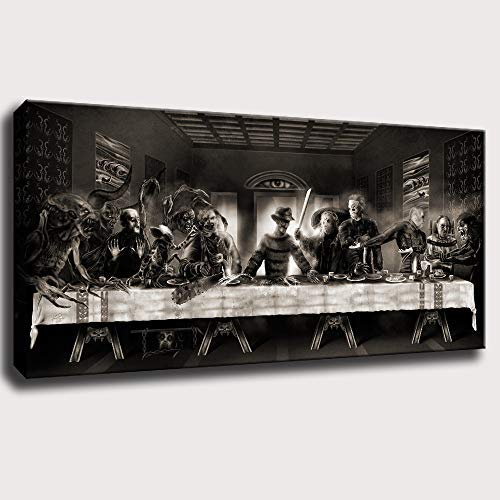 The Last Supper Halloween (The Last Supper,Dark Evil Horror Spooky Creepy,Halloween,Wall Art Home Wall Decorations for Bedroom Living Room Oil Paintings Canvas Prints-1157)