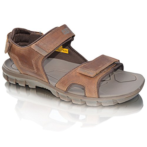 New Mens Caterpillar Cat Tactacle Casual Leather Velcro Brown Open Toe Beach Hiking Trekking Sandals Brown