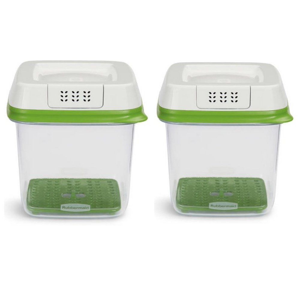 Rubbermaid FreshWorks Produce Saver Food Storage Container, Medium, 6.3 Cup, Green/ Set of 2