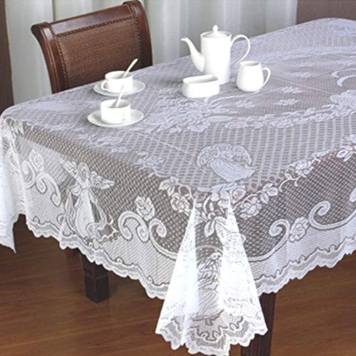 - Yizunnu White Angel Vintage Lace Dining Table Cloth Cover Christmas Tablecloth Party Decor,60x84 Inch