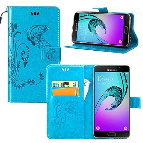 Erdong® Magnético Folio Flip Caso Con pata de cabra titular de la tarjeta Para Samsung Galaxy A7(6) & A7(2016), Elegant Simple Book-style [Azul flor de mariposa] patrón de impresión cuero del soporte