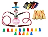 Zebra Smoke Starter Series: 11'' 2 Hose Taj Mahal Pumpkin Hookah Combo Kit Set w/ Instant Charcoal (Like Three Kings Charcoal), Hydro Herbal Molasses(like Blue Mist), and Hookah Mouth Tips Smokes More Than Hookah Pen (Pink)