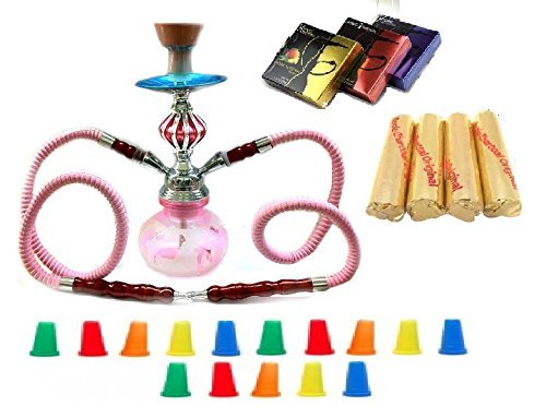 Zebra Smoke Starter Series: 11'' 2 Hose Taj Mahal Pumpkin Hookah Combo Kit Set w/ Instant Charcoal (Like Three Kings Charcoal), Hydro Herbal Molasses(like Blue Mist), and Hookah Mouth Tips Smokes More Than Hookah Pen (Pink) by Zebra Smoke