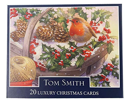 Tom Smith Luxury Boxed Traditional Christmas Cards Pack of 20 Festive Christmas Robin (Tom Cards Smith Christmas)