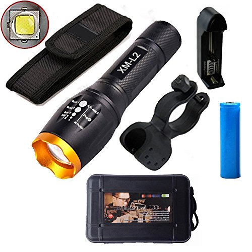 LED Tactical Flashlight, ustopfire Super Bright 2000 lumens XM-L2 Handheld Flashlight, 5 Mode Tactical Zoomable Adjustable Focus Flashlight, Water Resistant Flashlight Torch with Battery and Charger