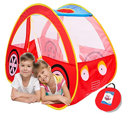 Play Kreative Car Popup Tent – Red Racing car - Pretend Vehicle Kids Play House and Carry Case. for Outdoor/Indoor Child Playtime Activities. Great Birthday Gift for Children