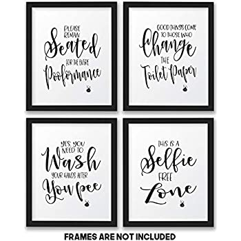 amazon com the john funny bathroom wall decor signs quotes set art rh amazon com Inspirational Quotes for Walls Bathroom Wall Plaques with Humorous Sayings