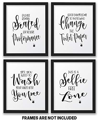 The John Funny Bathroom Wall Decor Signs/Quotes Set, Art Prints Unframed