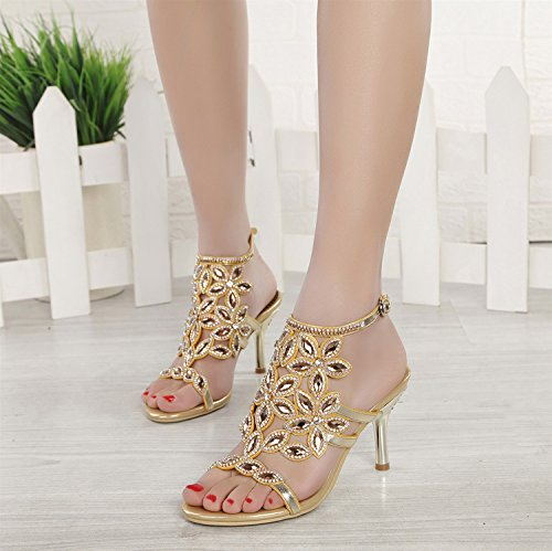 amp; for Diamond Spring Party Buckle Casual Leather Thin Sandals Dress Shoes Shoes A Evening Heel Summer Inlay Club Women's 0ZCSxq