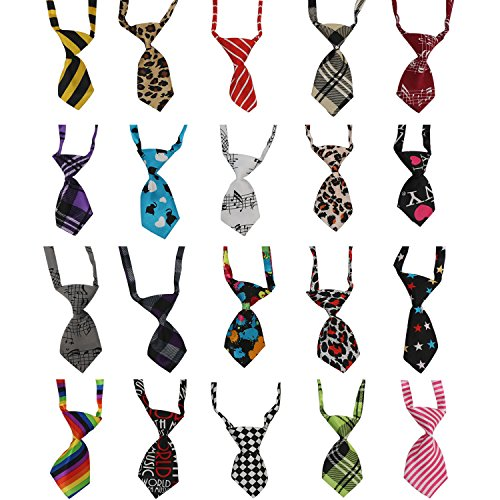 Segarty Dog Ties, 20PCS Small Cat Dog Bow Tie Collar, Adjustable Pet Neckties for Holiday Festival Dog Collar Dog Grooming Accessories - Neckties Dog Accessories