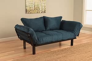 Best Futon Lounger Sit Lounge Sleep Smaller Size Furniture is Perfect for College Dorm Bedroom Studio Apartment Guest Room Covered Patio Porch . KEY KITTY Key Chain INCLUDED ( Posh Blue)