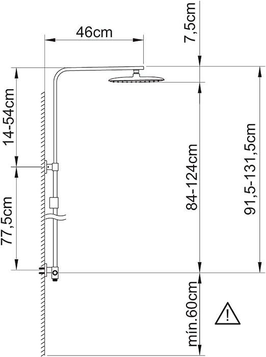 Clever 61028 Ensemble de barre de douche extensible 2 voies Saona Slim Chrom/é