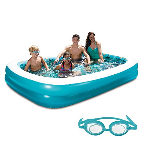 """Blue Wave 3D Inflatable Rectangular Family Pool, 103"""" x 69"""""""