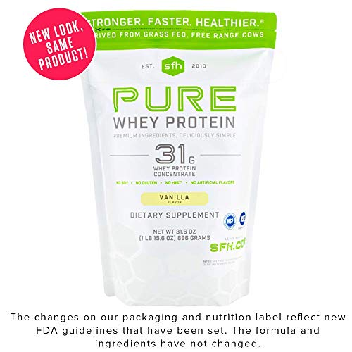 Pure Whey Protein Powder by SFH | Best Tasting 100% Grass Fed Whey | All Natural | 100% Non-GMO, No Artificials, Soy Free, Gluten Free (Vanilla, 2 Pound Bag) ()