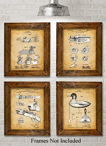 Original Duck Decoys Patent Art Prints - Set of Four Photos (8x10) Unframed - Makes a Great Gift Under $20 for Duck -