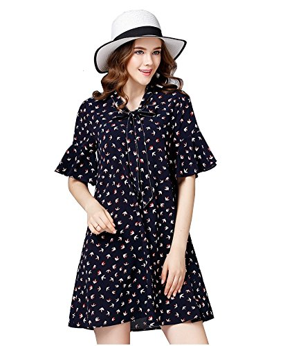 Boho-Chic Vacation & Fall Looks - Standard & Plus Size Styless - YSJ Women's V-Neck Bowknot A-Line Swallow Print Short Sleeve Plus Size Dresses (Navy Blue)