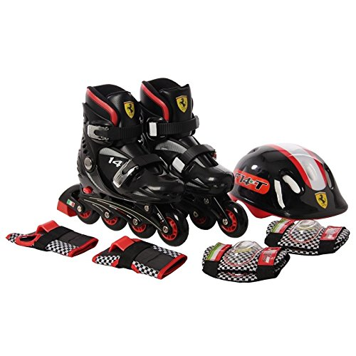 SWAGSPIN FERRARI Original INLINE Skate Combo Set black Size 29-32 Skating Kit