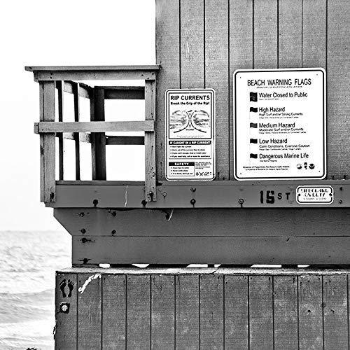 Amazon com: Beach Warning Signs Lifeguard Shack Coastal Surf Photo