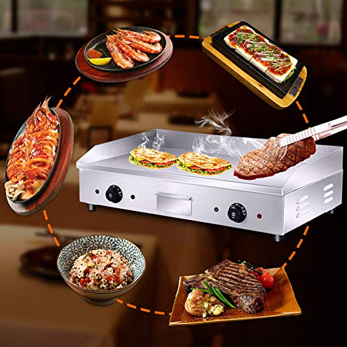 Commercial 4400W Electric Countertop Griddle Stainless Steel Grill Machine with 2 Adjustable Burners for Restaurant Barbecue by GOLDEN ELEPHANT (Image #4)