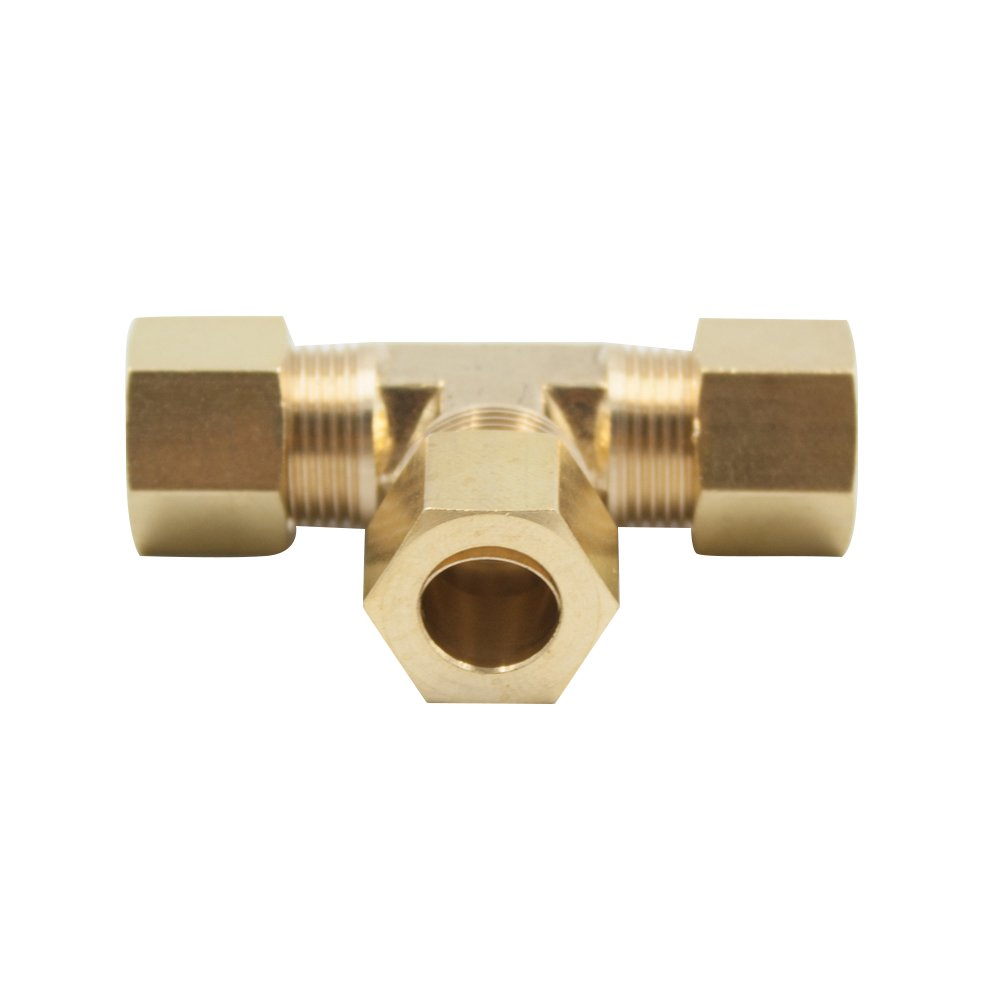 Vis Brass Compression Tube Fitting, Tee, 1/4'' x 1/4'' x 1/4'' Tube OD (Pack of 5)