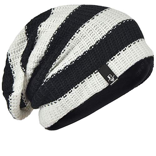 Depp Johnny Hat - FORBUSITE Mens Slouchy Long Beanie Knit Cap for Summer Winter, Oversize White