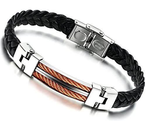 JSDY Mens Stainless Steel Unique Cable Pu Leather Cuff Bangle Bracelet 8.9